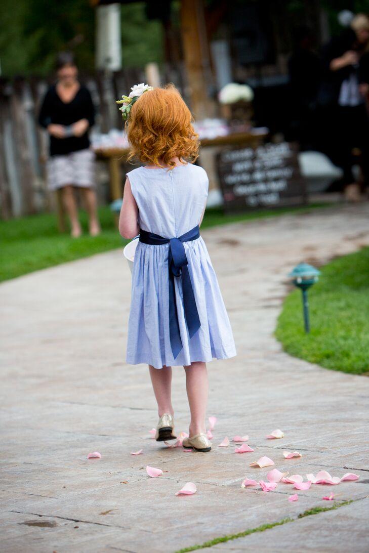 Light Blue and Navy Flower Girl Dress