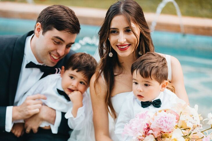 Classic Bride, Groom and Twin Sons