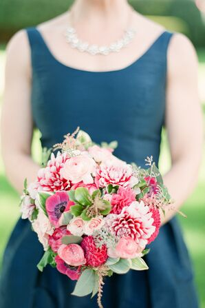 Pink Anemone, Dahlia and Ranunculus Bouquet