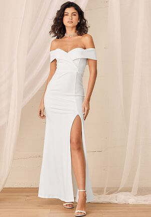 Lulus Song of Love White Off-the-Shoulder Maxi Dress Mermaid Wedding Dress