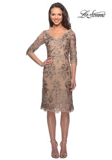 La Femme Evening 26871 Gold Mother Of The Bride Dress