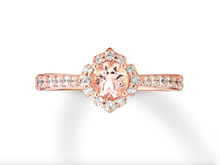 Kay Jewelers morganite engagement ring with diamonds in 14K rose gold