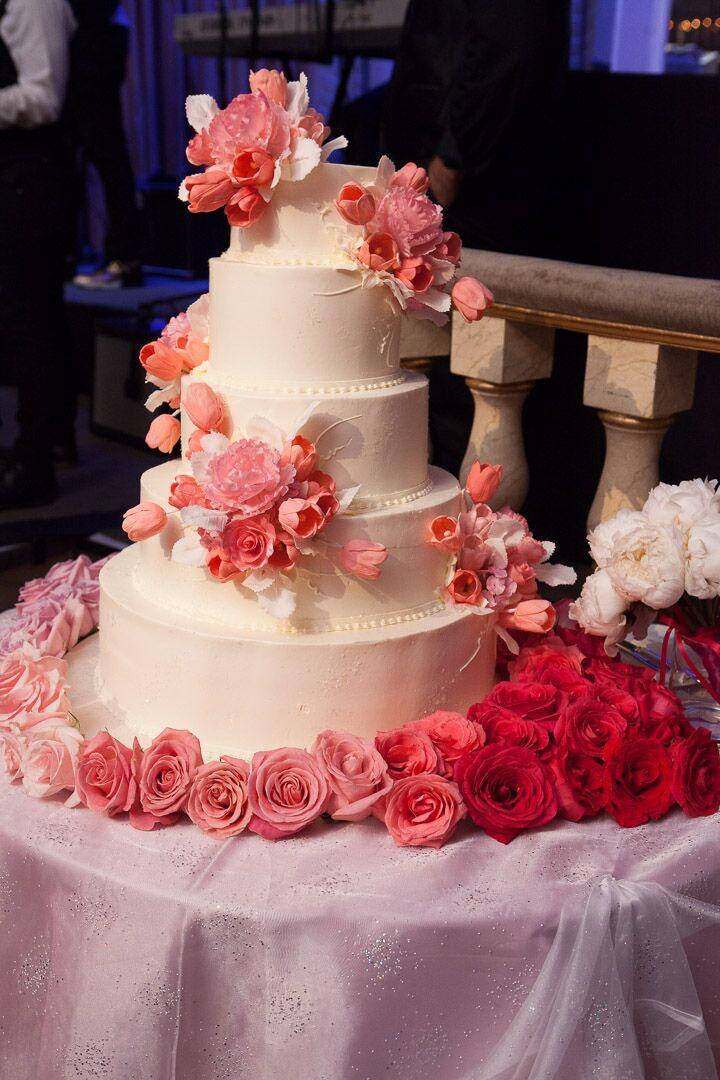 Fondant Wedding Cake With Pink Flowers