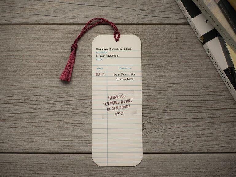 Library card bookmark wedding favor idea