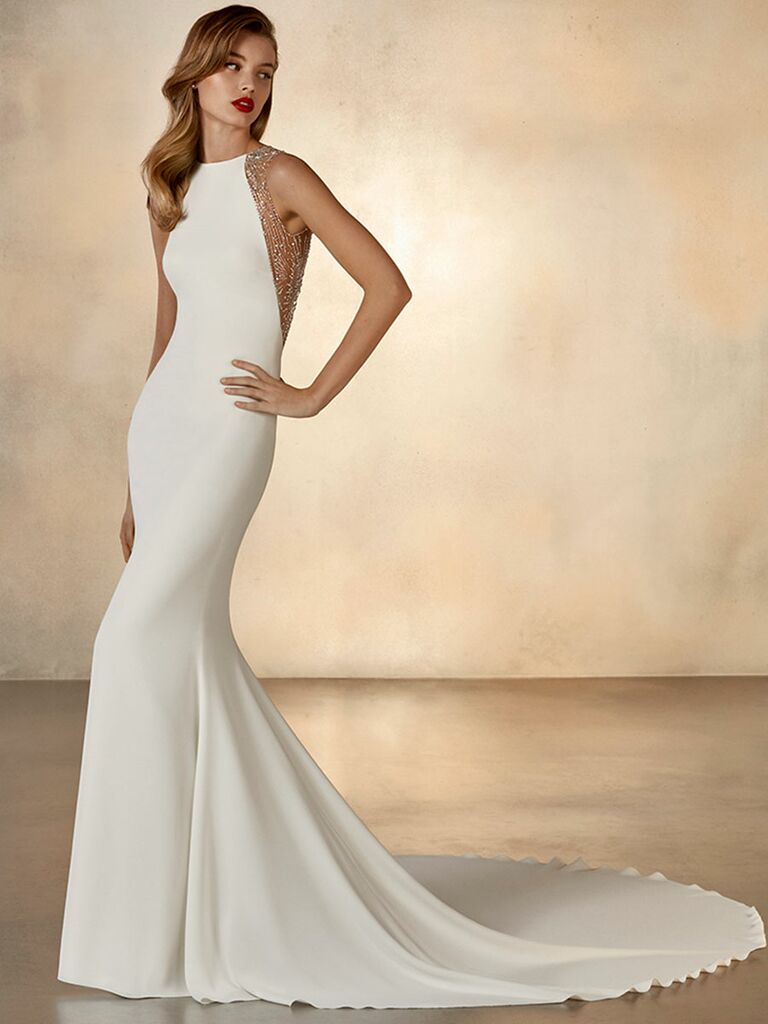 Atelier Provonias wedding dress trumpet gown with beaded sides and back