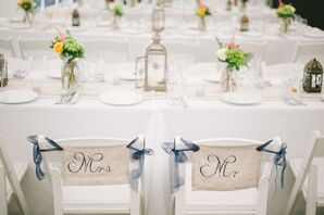 Navy and Ivory Mr and Mrs Reception Chair Signs