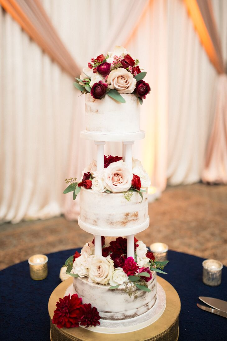 Three-Tiered Cake with Roses