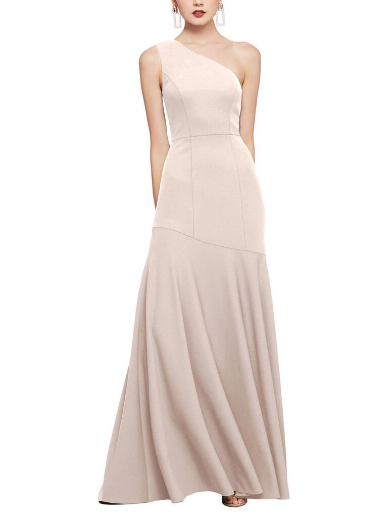 Blush one shoulder bridesmaid dress