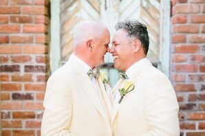Grooms in Pale Yellow Matching Suits