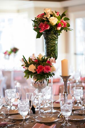 Different-Height Rose Centerpieces With Greenery