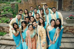 Wedding Party in Traditional Saris and Sherwanis