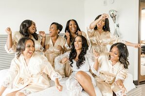 Getting Ready with Glamorous Bride and Bridesmaids