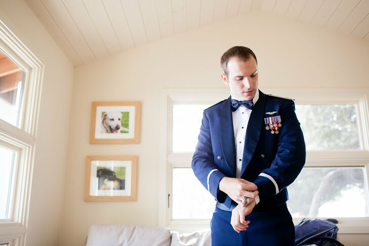 As a member of the U.S. Air Force, Jeff wore his uniform to his wedding.