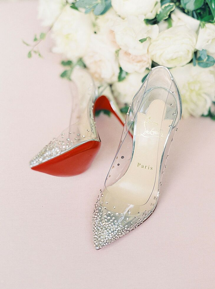 Silver Christian Louboutin Heels for Wedding  at The Swan House in Atlanta, Georgia