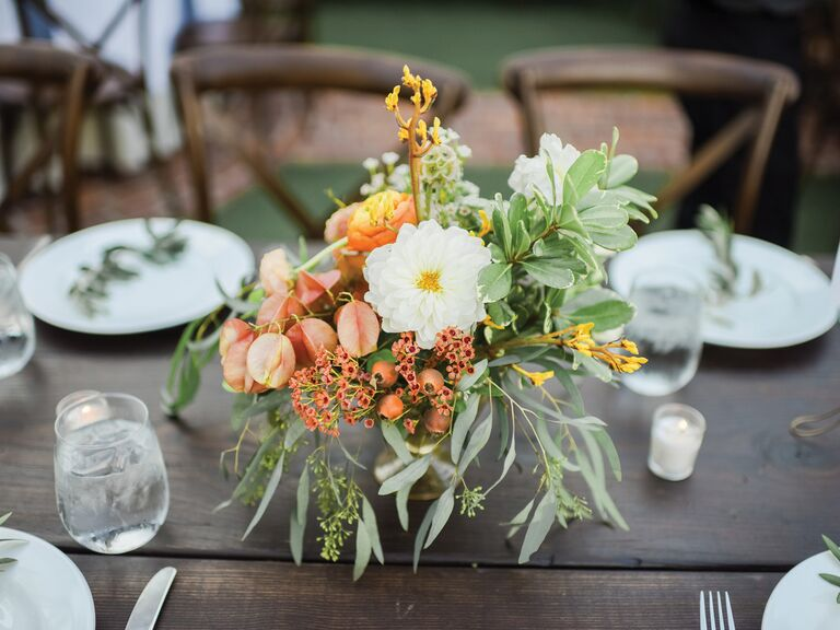 spring wedding centerpieces orange and white flowers