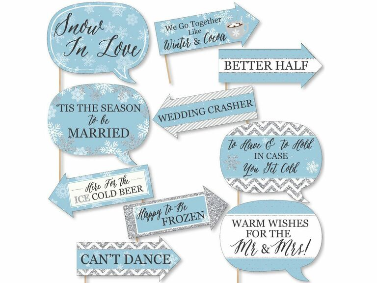 Winter wedding photo booth props