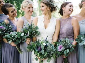 Casual Bridesmaids in Mismatched Purple and Blue Dresses