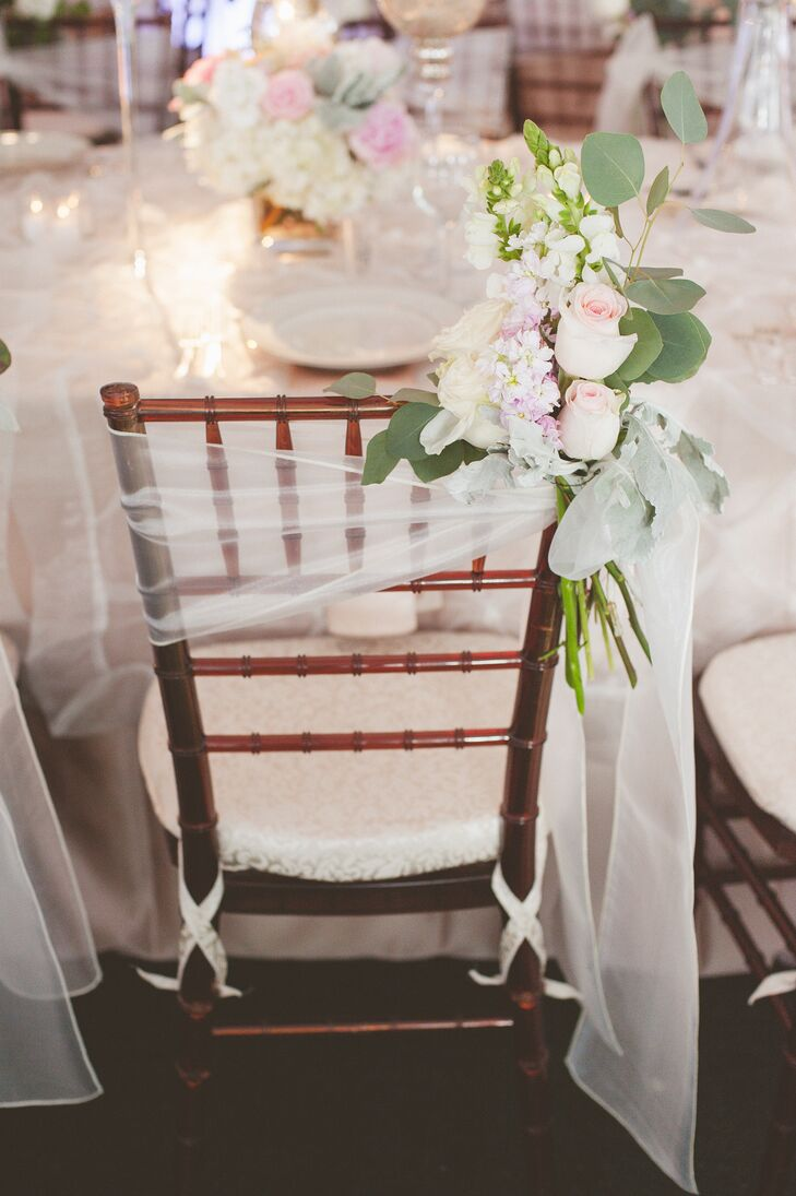 Tulle Wrap on Reception Chair with Florals