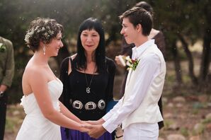 Short Wedding Hairstyles at Santa Fe Same Sex Ceremony