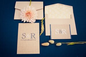 Blue, White and Burlap Wedding Invitations
