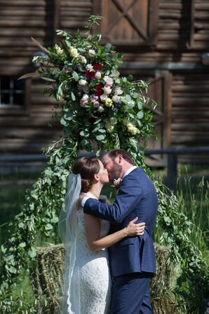 Lush Eucalyptus and Rose Wedding Arch
