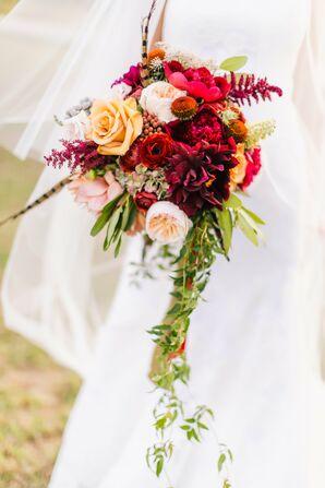 Lush Autumnal Cascade Wedding Bouquet