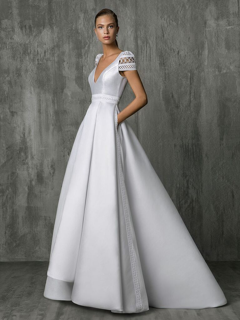 Victoria Kyriakides Fall 2018 wedding dresses with geometric lace inserts