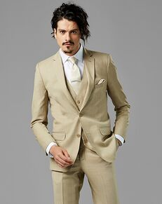 Generation Tux Tan Sharkskin Notch Lapel Suit Brown Tuxedo