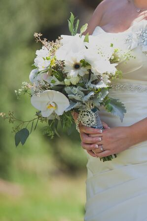 White Orchid, Dusty Miller, Daisy Bridal Bouquet