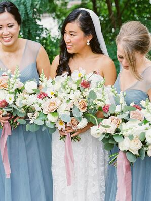 Bridesmaids in Blue Dresses for Wedding at Machine Shop in Minneapolis, Minnesota