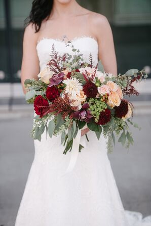 Cream Rose and Red Chrysanthemum Bouquet