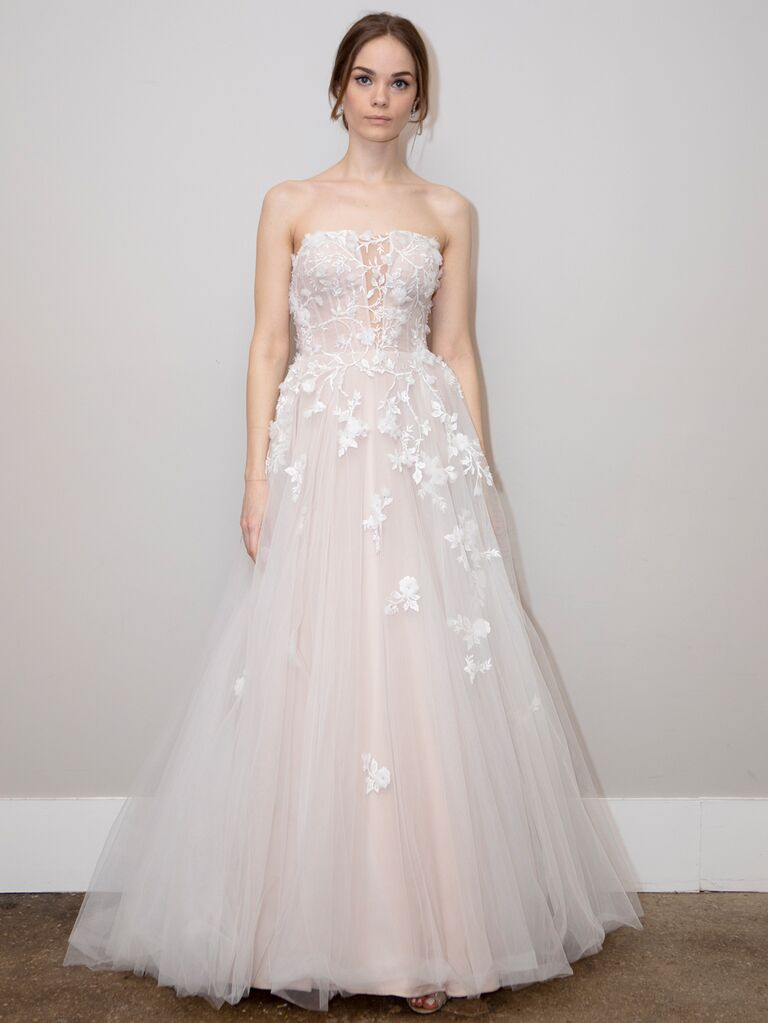 BHLDN Spring 2020 Bridal Collection A-line strapless wedding dress with floral appliqués