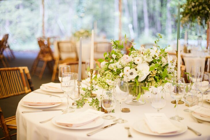 Centerpieces with Anemones and Taper Candles