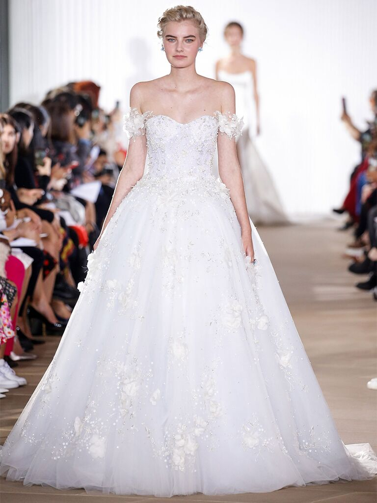 Ines Di Santo wedding dress off-the-shoulder sparkly ball gown