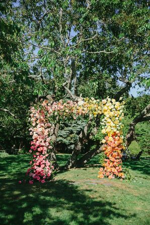 Colorful Flower Arch for Ceremony at Solé East in Montauk, New York