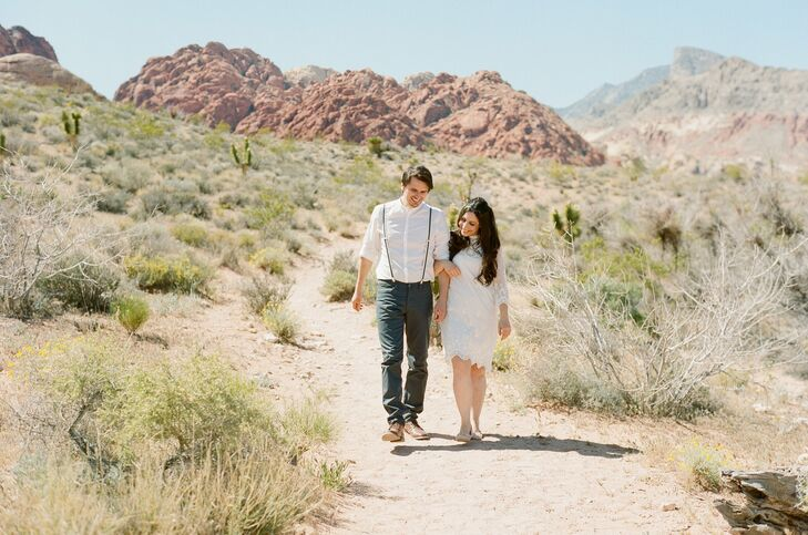 Leila and Tom celebrated their nuptials in a very casual and personal ceremony on Calico Basin Road in Las Vegas. The couple wandered the scenic trail