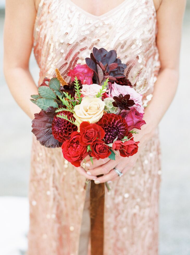 Bohemian Bouquet of Burgundy Dahlias and Garden Roses
