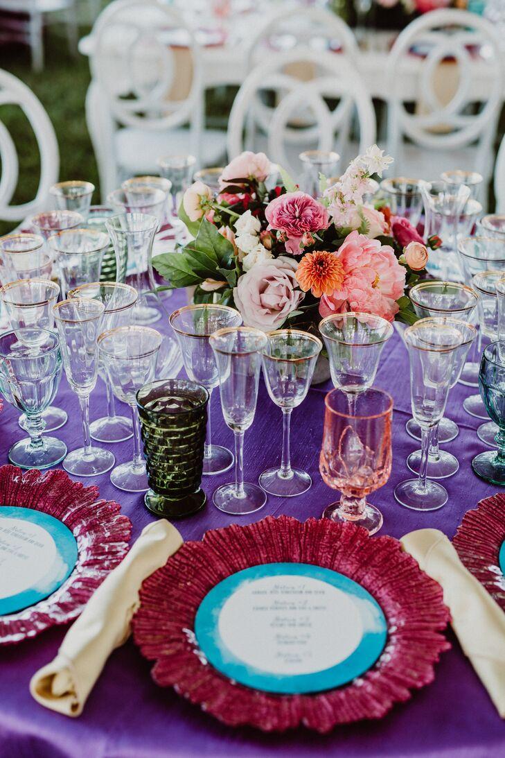 Purple and Fuchsia Place Settings