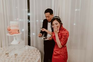 Cake Cutting During Reception at Villa del Sol d'Oro in Sierra Madre, California