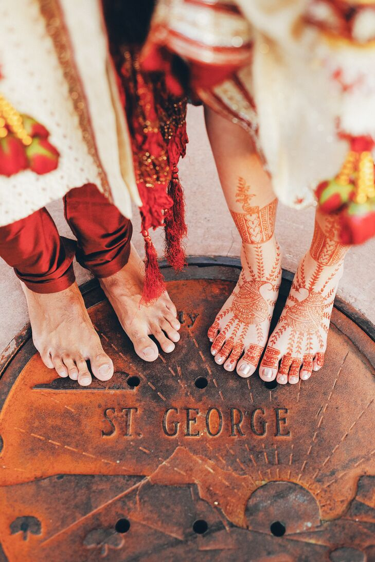 Henna on hands and feet is a common part of Hindu ceremonies.