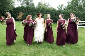Maroon Floor-Length Bridesmaid Dresses