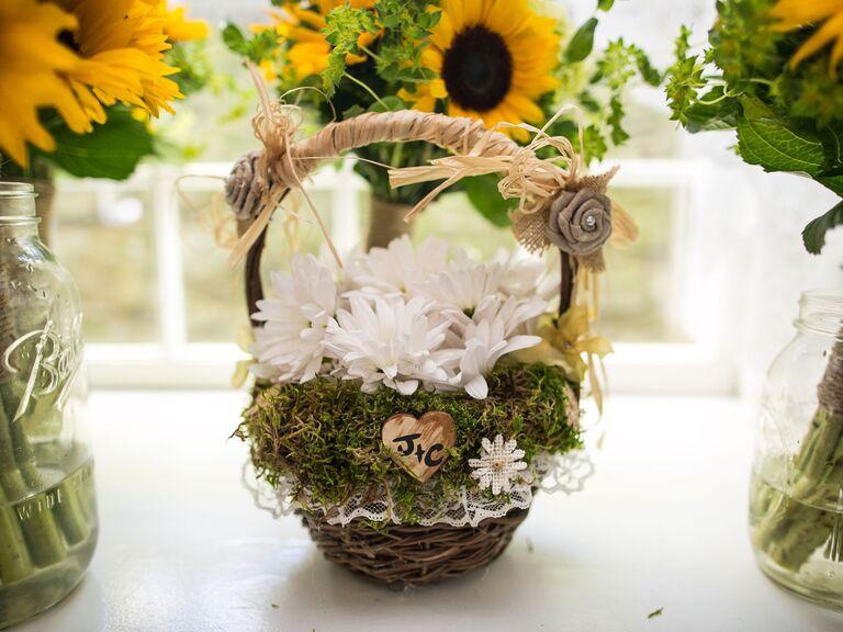 Personalized rustic woodland flower girl basket
