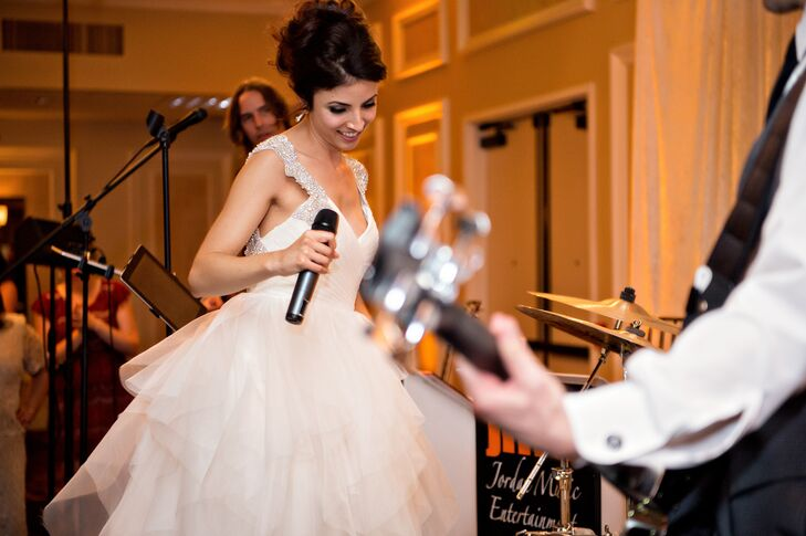 Lauren and Phil are musicians, so great music was high on their priority list. In addition to hiring a live band to send the soiree into high gear and keep the dance floor packed, they decided to surprise guests with a performance of their own toward the end of the night.