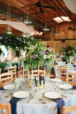 Romantic Tented Reception With Greenery Centerpieces