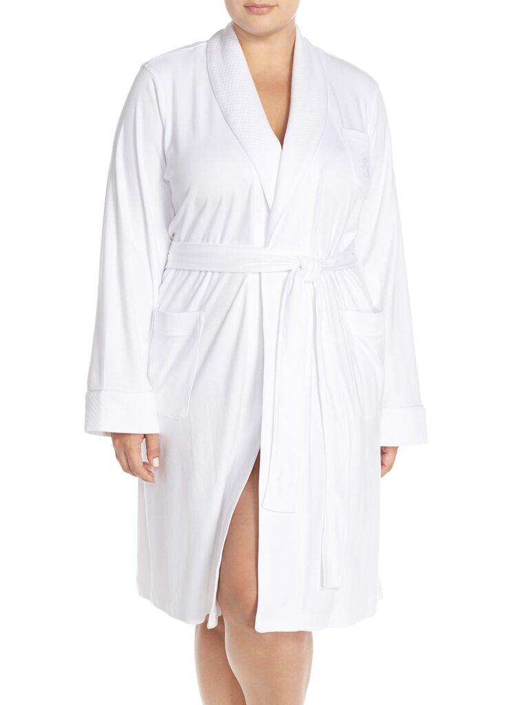 White plus size bridal robe