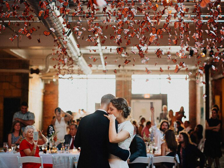 Bride and groom's first dance at wedding reception