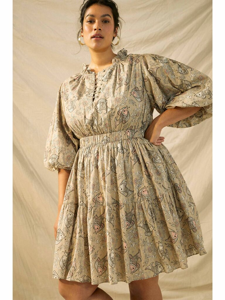 Eclectic print cottagecore dress with cinched waist and neckline ruffle