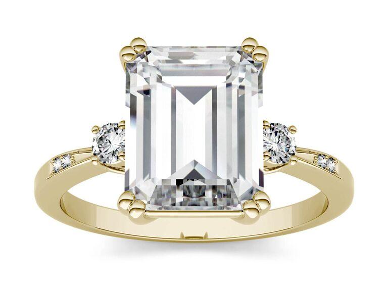 Charles & Colvard emerald cut engagement ring