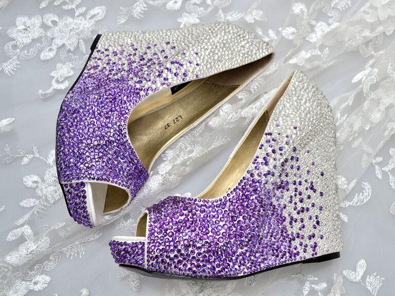 The Crystal Shoe Company Cadbury purple ombre and silver Swarovski crystal platform wedding wedges