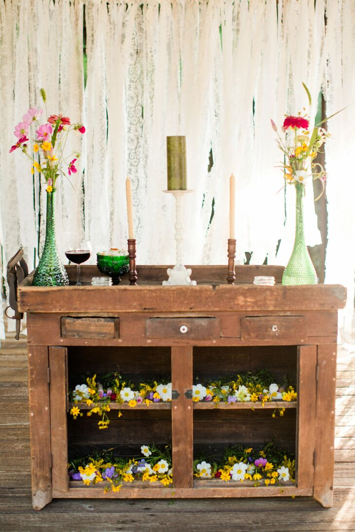 Wooden Altar With Candles and Flowers